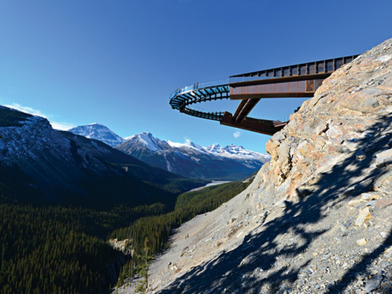 Glacier skywalk with mountains